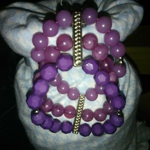 Tri color purple beaded bracelet
